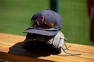Bellevue College baseball cap and glove