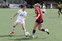 Image of a BC women's soccer player against Lane