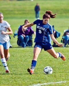 Defender Gaby Adamson anchored Bellevue's solid defense in the shutout win over previously undefeated Highline. photo by Rich Dworkis.