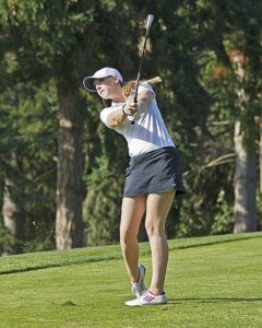 Sophomore captain Meg McMullen shot 74 on day one at the Centralia League Match.