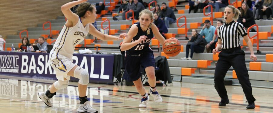 Bellevue's Molly Dixon drives against Centralia in a women's NWAC tournament basketball game