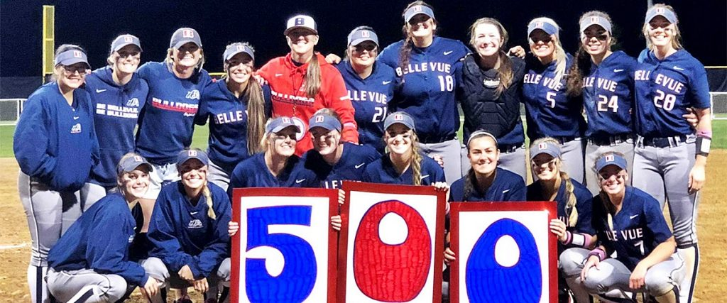 BC Softball Team with sign for coach Frances 500th victory