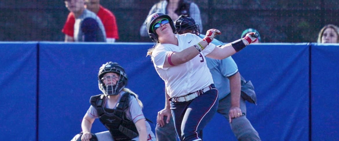 A BC softball batter takes a swing