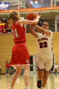 A BC player goes up for a shot