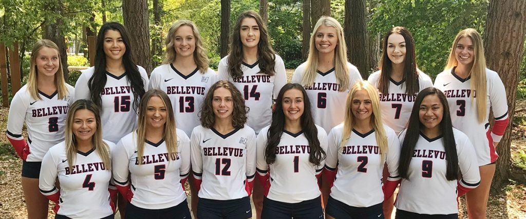 Team photo, BC women's volleyball 2018. Player names in caption.