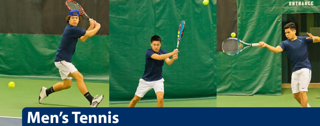 Three separate images of men's tennis players hitting balls