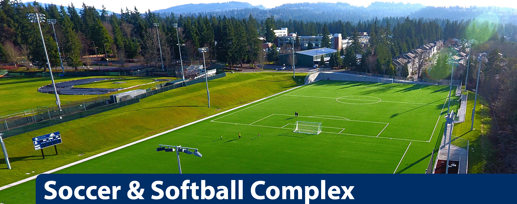 Soccer and softball fields with mountains in background