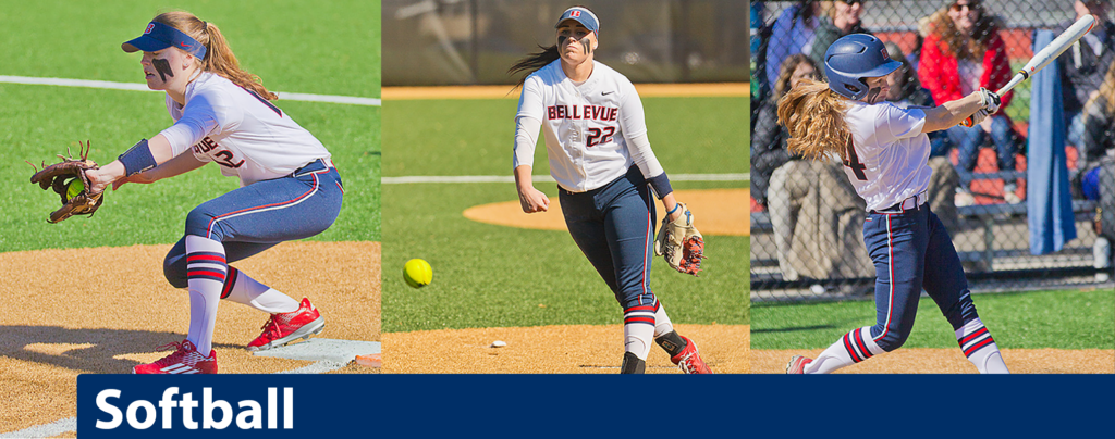 Three images of softball players - first image a player catching a ball, second image a player pitching a ball, third image a player swinging a bat