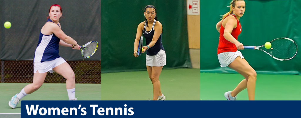 Three separate images of women's tennis players hitting balls