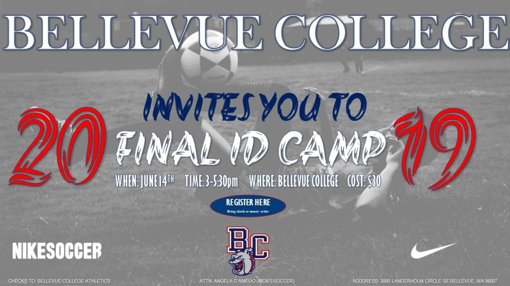 Bellevue College invites you to 2019 Final ID Camp. When, June 14; Time, 3-5:30 p.m.; where, Bellevue College. Cost $30. links to registration form