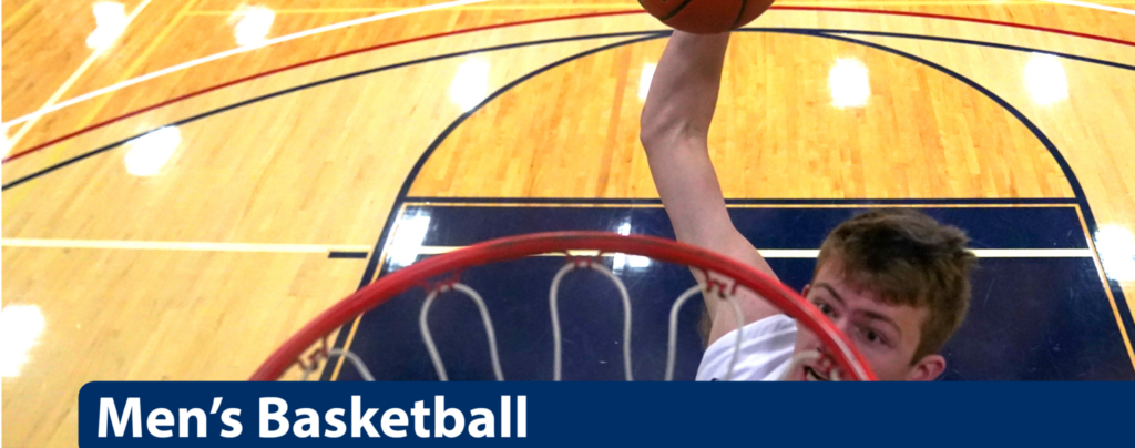 Men's Basketball header, player dunking ball down into the basket