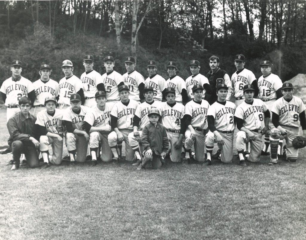 1970 Baseball team. Bellevue's first team coached by Jim Harryman