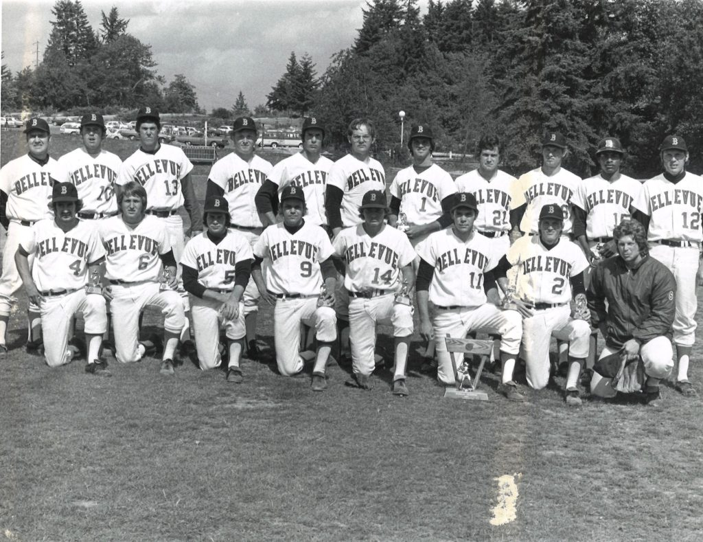 1973 NWAC Champ baseball team. Bellevue's first title coached by Jim Harryman