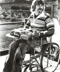 Kirk Kilgour in a wheelchair