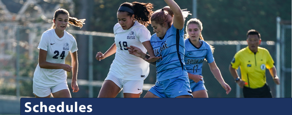 Schedules banner image featuring women's soccer fighting for the ball