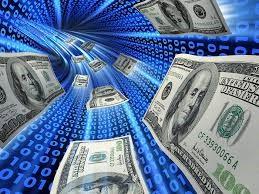 money rushing through computer