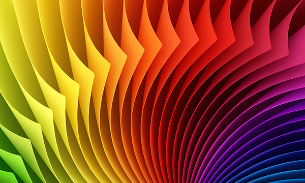Fanned colored paper