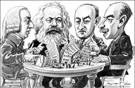 cartoon of Smith, Marx, Schumpeter, and Keynes sitting around a table display of the economy