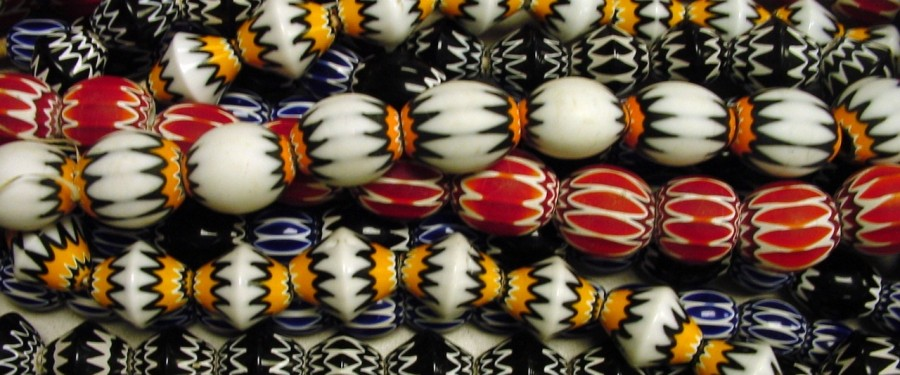 rows of beads close up