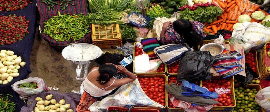 Woman in a market area