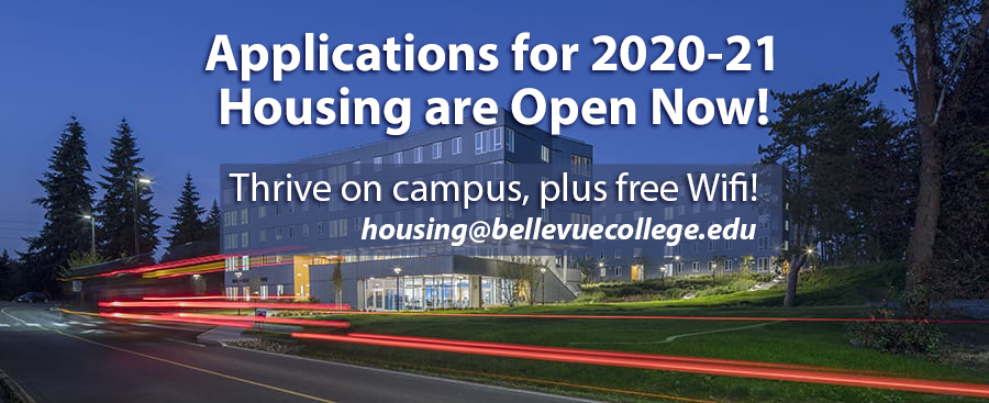 Applications for 2020-21 Housing are Open Now! and Residence Hall at night