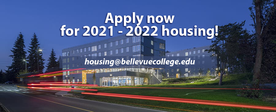 Apply now for 2021-2022 housing with night time view of BC Residence Hall