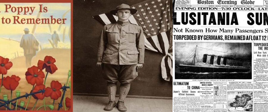 picture of a world war one soldier, a world war one songbook, and a newspaper