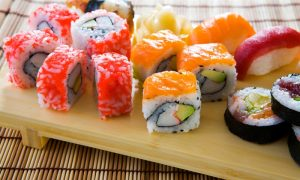 Assorted Sushi on a Wooden Platter