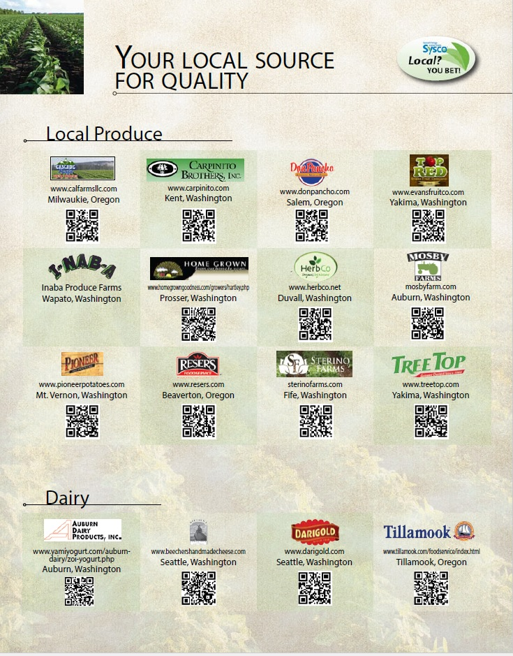 Sysco local produce and dairy