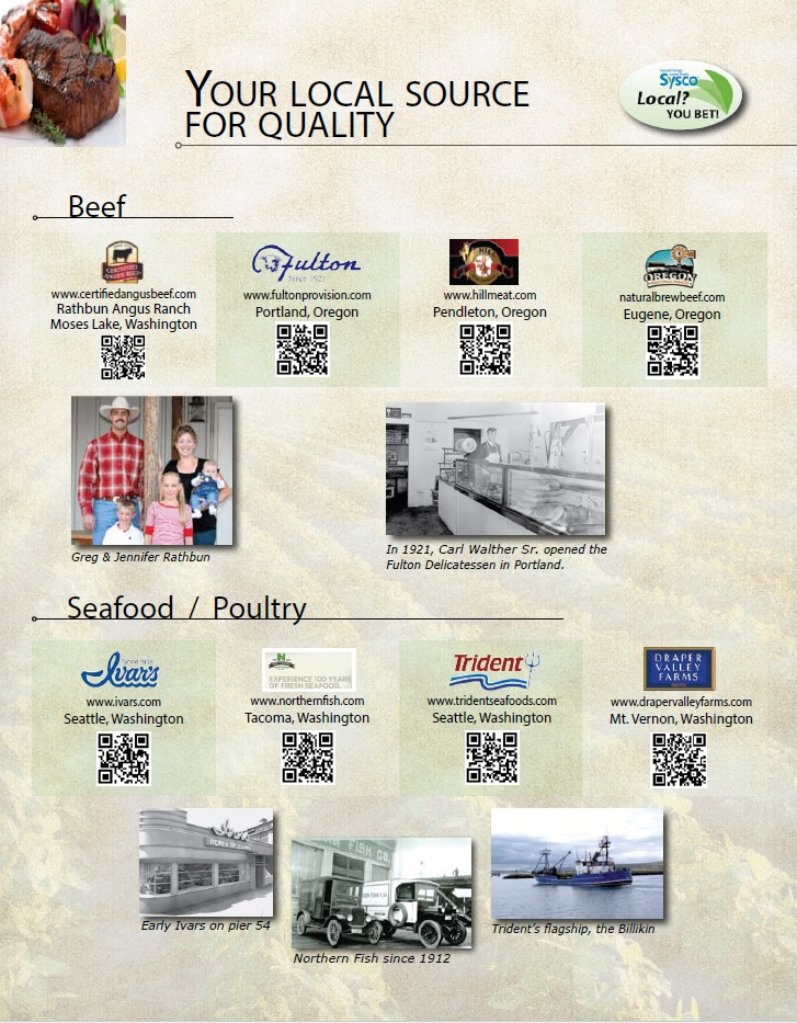 sysco local beef and seafood/poultry sheet