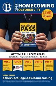 Homecoming 2019 - Person's hands holding All-Access pass. Other information contained in page text
