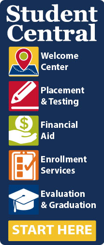 Student Central (welcome center, placement and testing, financial aid, enrollment services, and evaluation and grades). Links to Student central site.