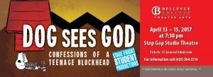 Dog Sees God - Confessions of a Teenage Blockhead, April 13-15. Links to event ticket page