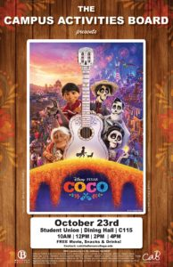 Coco Movie Afternoon 10/23 in the cafeteria