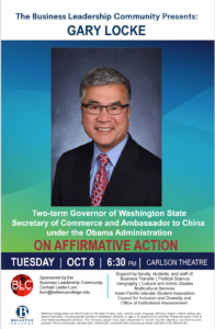 Governor Gary Locke to speak on Affirmative Action