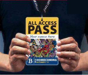 Holding a lanyard with the All Access Pass