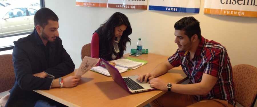 Photo of students studying in library