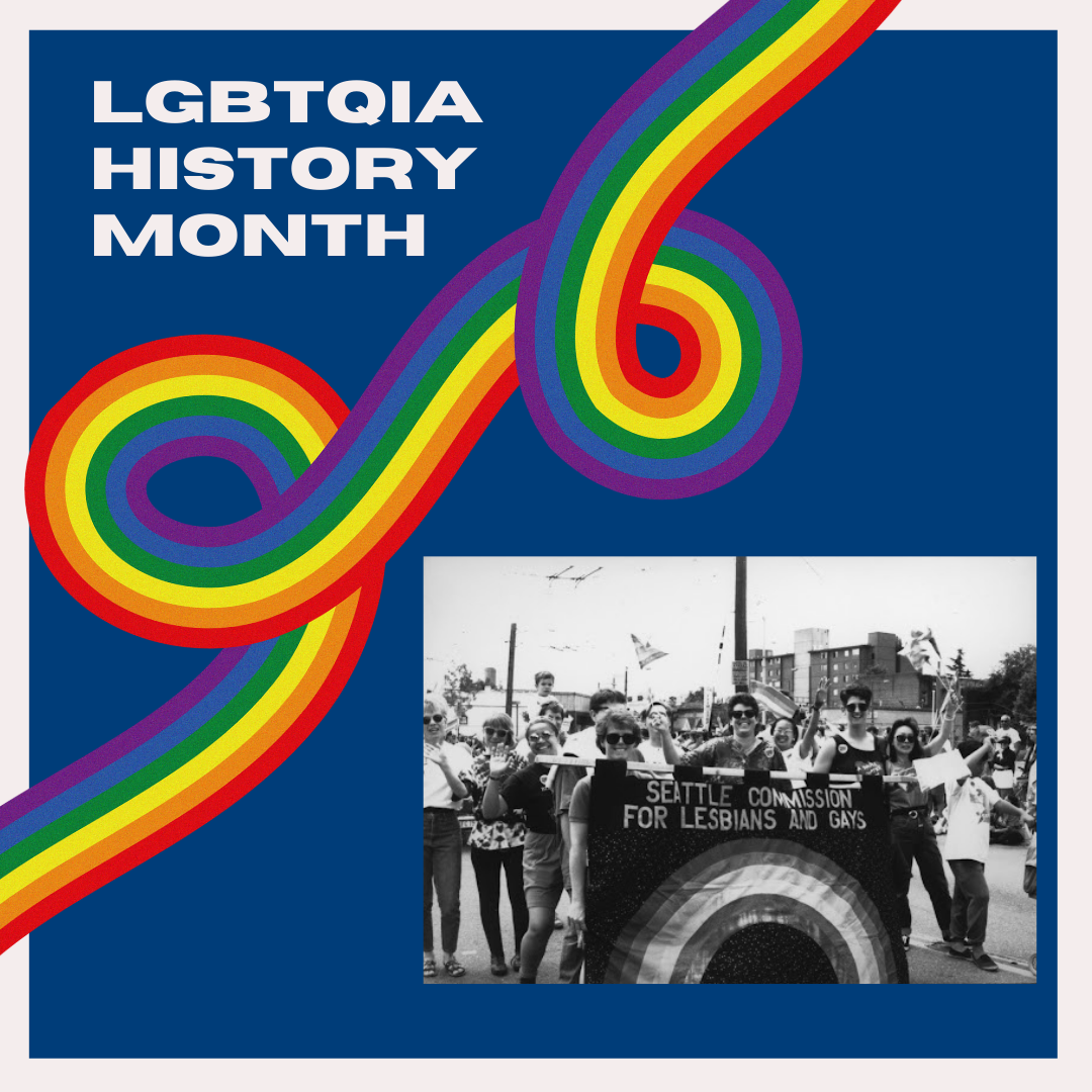 LGBTQIA History Month LibGuide, Blue image with rainbow and a historic photo of the Seattle Commission for Lesbians and Gays
