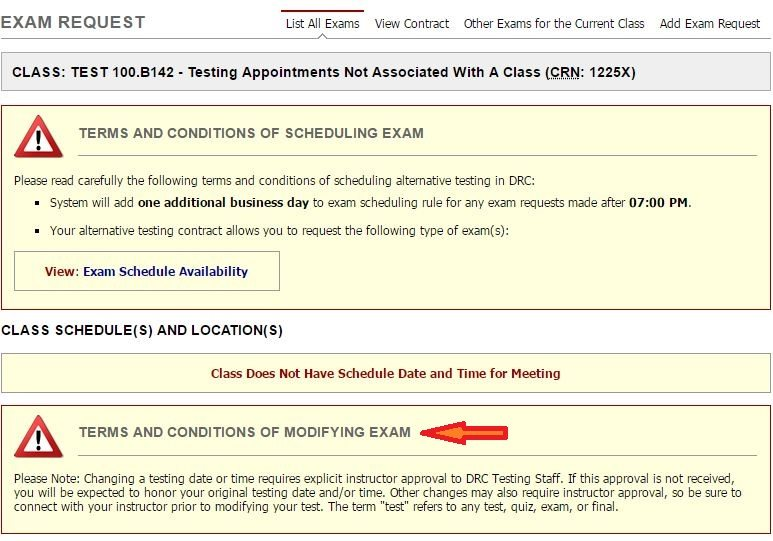 Modifying and Canceling Exam Requests in MyDRC :: Disability