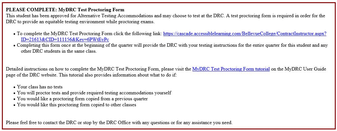 Mydrc Test Proctoring Form Tutorial Disability Resource Center