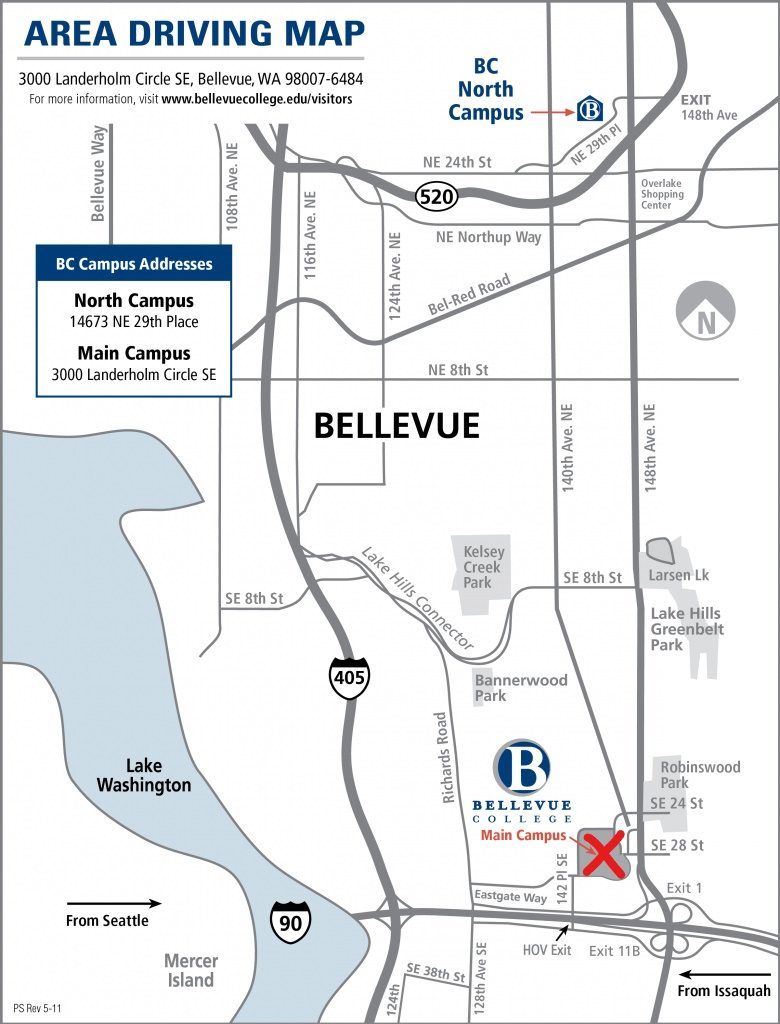Bellevue Major Roads Map with BC Marked in Red X