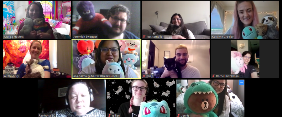 DRC Staff Photo taken during 2020 stay-at-home orders, each staff member appearing in their webcam box with a favorite stuffed or comfort animal. Top row: Marisa, Jeremiah, Jessica, & Katelynn. Middle Row: AJ, Ana, Sheh, & Rachel. Bottom row: Raymona, Gillian, & Jennie.