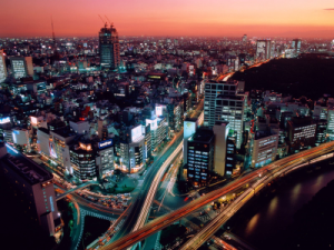 Aerial View of a Japanese City