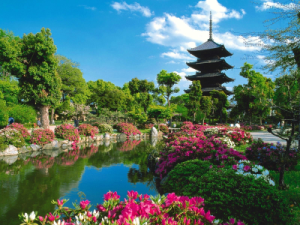 Pagoda in Flower Garden in Japan