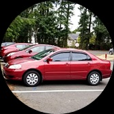 Red Car in a Parking Spot