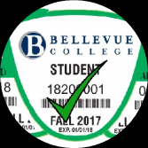 Green Bellevue College Parking Pass with Green Checkmark