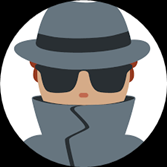 Cartoon Burglar with Grey Hat and Coat and Black Sunglasses