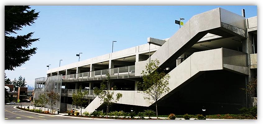 Bellevue College Parking Garage side view