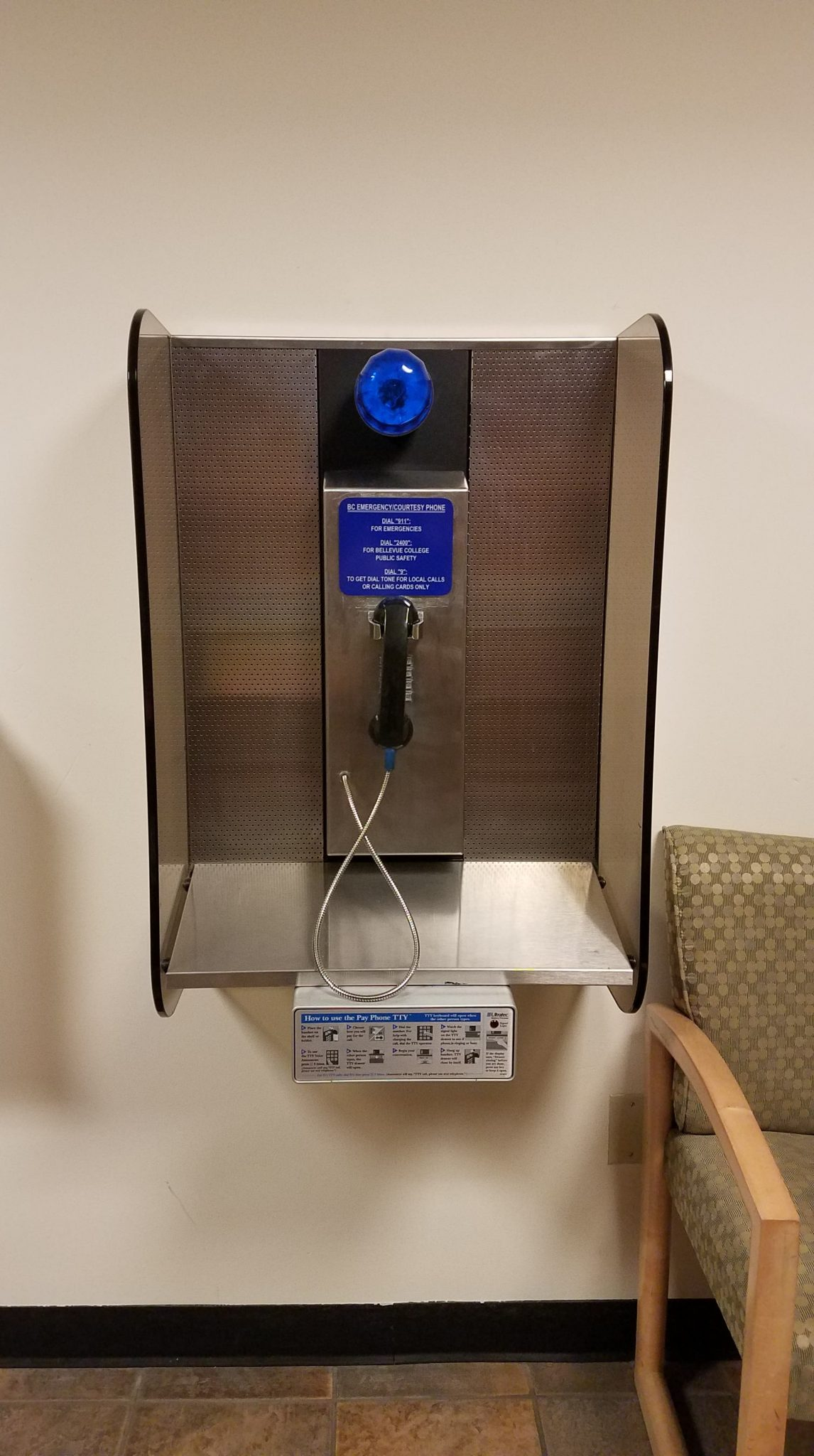 Public Safety Emergency Call box Silver with Blue light