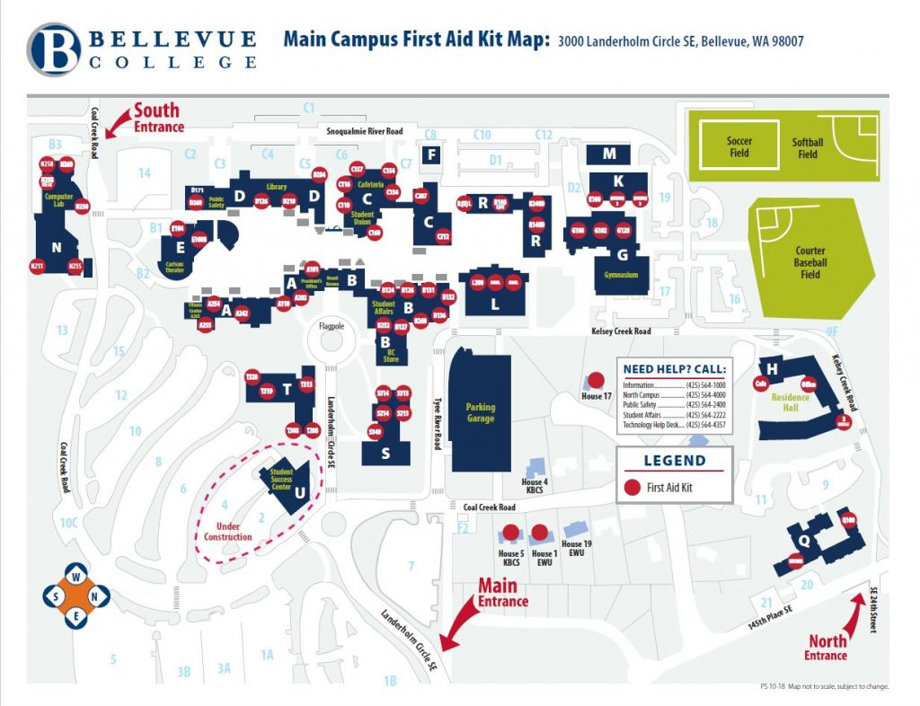 Main Campus First Aid Kit Map